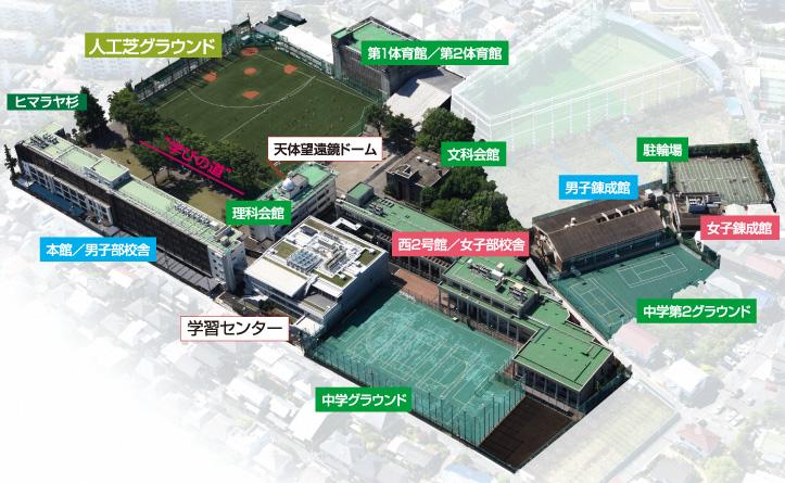 国学院大学久我山中学校キャンパス案内図